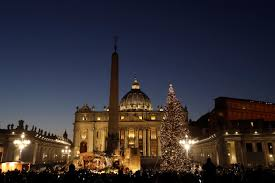 vatican nativity scene includes quake damaged church spire