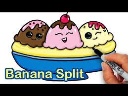 how to draw a yummy cute banana split ice cream sundae youtube