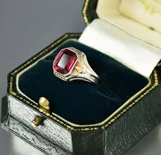 mens art deco silver gold ruby signet ring u2013 boylerpf