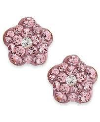 children s 14k gold earrings children s pink flower stud earrings in 14k gold