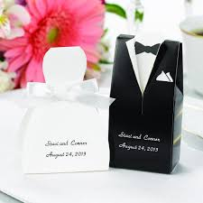 personalized wedding favor boxes personalized gown or tuxedo wedding favor box candy cake weddings