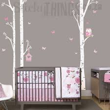 Tree Nursery Wall Decal Birch Trees Birch Forest And Owl Trees Wall Stickers Sticky