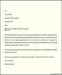 job rejection thank you letter templatezet