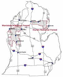 Road Map Of Michigan Huron Manistee National Forests Maps U0026 Publications