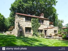 rear elevation tuscan style home scarsdale united states stock