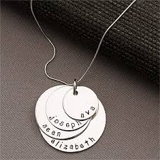 Mom Necklace With Kids Names Personlized Kids Names Stacking Disc Necklace For Mom 4 Discs