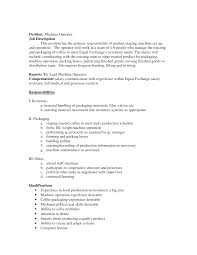 Production Job Description For Resume by Cnc Operator Job Description For Resume Free Resume Example And
