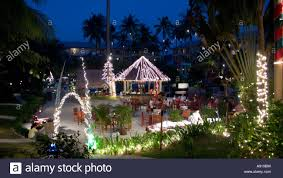 surin beach hotel in phuket thailand at christmas stock photo