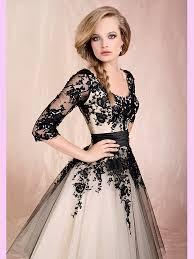 cheap online wedding dresses black ankle length scoop neckline lace tulle wedding dresses