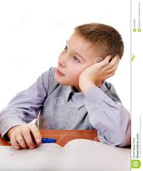 Kid At Desk by Bored Kid Doing Homework Stock Photo Image 63450886