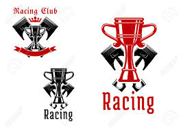 Checkered Flag Ribbon Racing Sport Club Icons Or Symbols With Crowned Champion Trophy