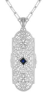 silver necklace with sapphire images Art deco sapphire and diamonds floral filigree pendant necklace in jpg
