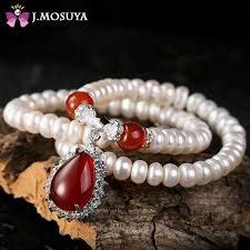 brand new pearl necklace images J mosuya brand natural women pearl necklace with red agate jade jpg