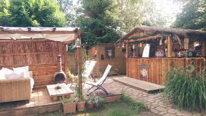 How To Build Tiki Hut Custom Homemade Tiki Bar In The Uk Made From Wooden Pallets