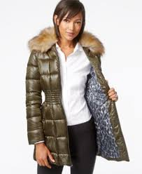 laundry by shelli segal laundry by shelli segal faux fur collar puffer jacket coats