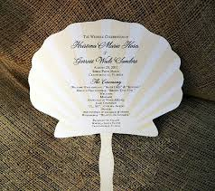 fan programs for weddings set of 25 paddle style seashell design wedding program fan custom