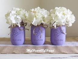 Vase Centerpieces For Baby Shower Purple Distressed Mason Jars Wedding Mason Jars Vintage