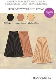 flat sketch skirt with box pleat archives convenient online
