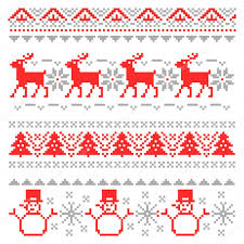 merry christmas traditional scandinavian knitting pixel borders