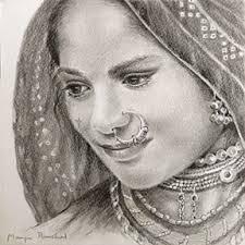 gallery indian women pencil sketch drawing art gallery