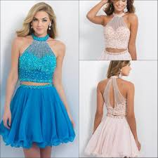 blush prom dresses bling beading two piece homecoming dress high