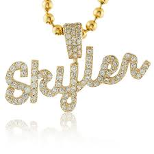 name pendant 14k yellow gold custom diamond skyler name pendant shyne jewelers