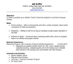 athletic resume template skills objective relevant experience interest and activities