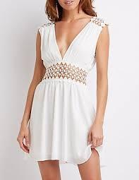 white lace dress white dress chiffon cut out lace russe