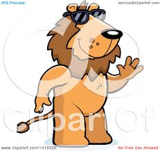 cartoon clipart of a friendly lion wearing sunglasses and waving