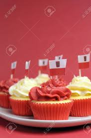 Dessert Flags Polish Red And White Decorated Cupcakes With Poland Flags For