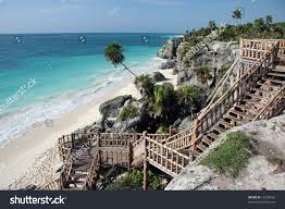 stairs leading famous sandy beach tulum stock photo 12528166