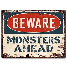 pp1906 beware of monsters ahead plate chic sign home store