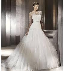 lace drop waist ballgown pronovias wedding dress
