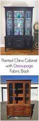 best 25 painted china hutch ideas on pinterest painted hutch china cabinet with decoupage fabric backing