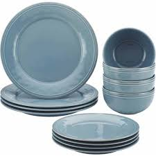 rachael cucina 12 stoneware dinnerware set agave blue