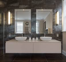 Mirrored Subway Tile Backsplash Bathroom Transitional With by Farmhouse Bathroom Mirror Bathroom Farmhouse With Wood Floor