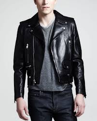 leather motorcycle jacket saint laurent leather motorcycle jacket in black for men lyst