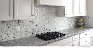 Metal Kitchen Backsplash Tiles Modern White Glass Metal Kitchen Backsplash Tile Throughout