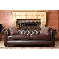 Leather Chesterfield Sofa Abbyson Grand Chesterfield Brown Top Grain Leather 2 Piece Living