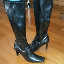 s boots nine nine black leather knee high boots nine leather knee