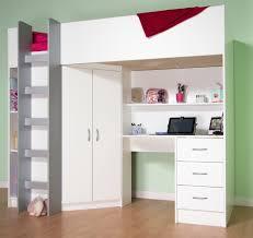 White High Sleeper Bed Frame Single High Sleeper Frame With Desk Metal Wardrobe And Beech