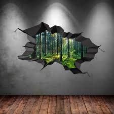 full colour woods forest trees jungle cracked 3d wall art sticker caricamento dell immagine in corso full colour bosco foresta alberi jungle rotto 3d