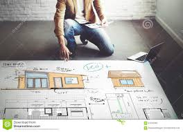 house layout floor plan blueprint sketch concept stock