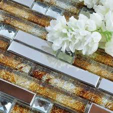 Metallic Tile Backsplash by Glass Mosaic Tile Backsplash Interlocking Metal Glass Diamonds T005
