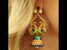 peacock design earrings beautiful gold peacock earring designs peacock gold jhumkas