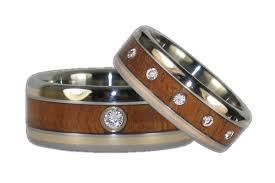 wooden wedding ring sets titanium ring set with gold and hawaiian koa inlays