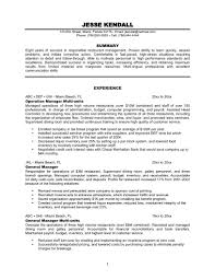 Resume Objective Examples For Restaurant by Resume Restaurant Manager Resume