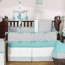 turquoise and gray chevron zig zag baby bedding 9 pc crib set by