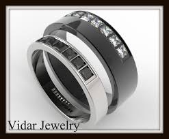 black wedding rings his and hers black and white gold wedding band set vidar jewelry unique