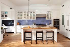 white kitchen furniture with blue tiles for backsplash 2437